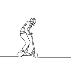 continuous line man rides an electric scooter vector image