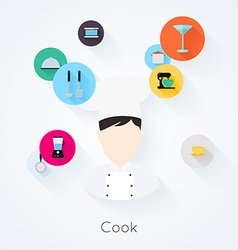 Cook character with food cooking and serving icons vector