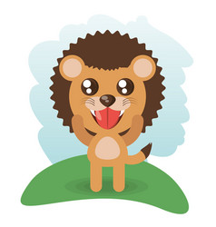 Cute lion animal wildlife vector