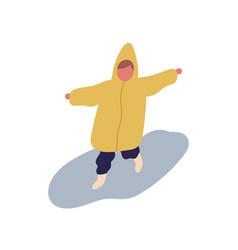 cute little cartoon child in raincoat running vector image
