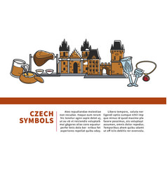 Czech symbols informative internet banner with vector