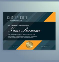 Dark certificate appreciation template design vector