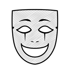Doodle face mask entertainment carnival style vector