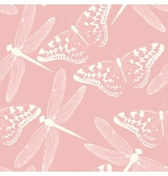 Dragonflies and butterflies seamless background vector image