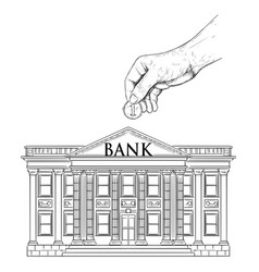 Drawing hand putting coin in classic bank vector