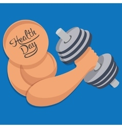 Dumbbell in hand health day vector image