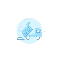 Dump truck dumps pile sand or dirt flat icon vector