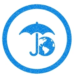 Earth Umbrella Rounded Icon Rubber Stamp vector image