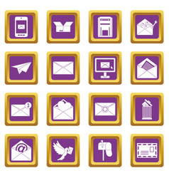 email icons set purple vector image