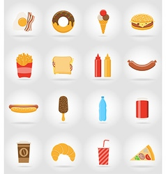 fast food flat icons 17 vector image