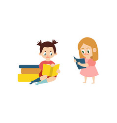 flat girls reading book set vector image