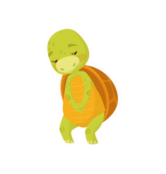 flat icon of sad turtle green marine vector image