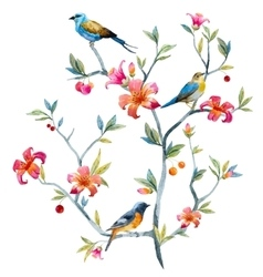 Floral composition with birds vector image