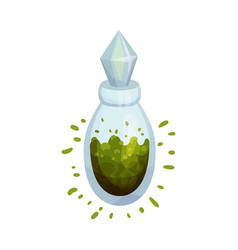 Glass flask with green potion vector