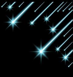 Glowing falling stars aqua color vector