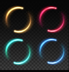 glowing magical light rings flare lines vector image