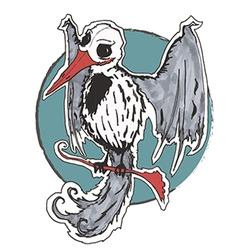 Gothic bird skull vector