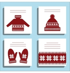 Greeting Card Winter wool knotted clothes with vector image