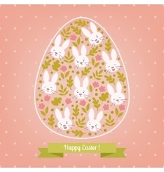 Greeting pink card white Easter bunny in the egg vector image
