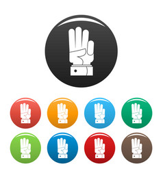 hand three icons set color vector image