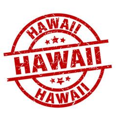 Hawaii red round grunge stamp vector