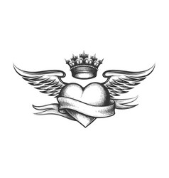 Heart with crown wings and ribbon tattoo vector