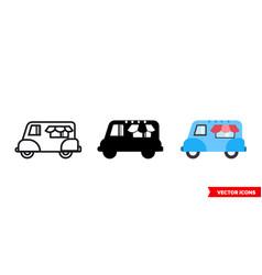 ice-cream truck icon 3 types isolated vector image