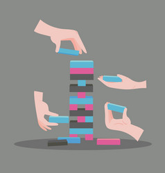 Jenga game with hands wooden block game vector