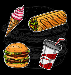 junk fast food sandwich and ice cream burger and vector image