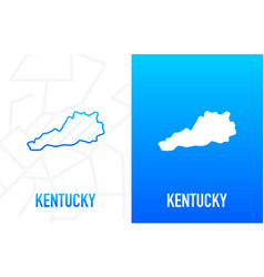 Kentucky - us state contour line in white vector