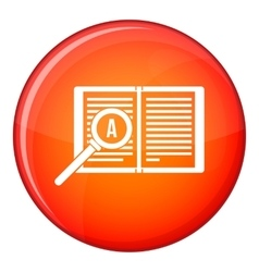 Magnifying glass over open book icon flat style vector image