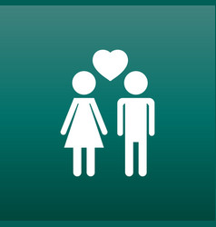Man and woman with heart icon on green background vector