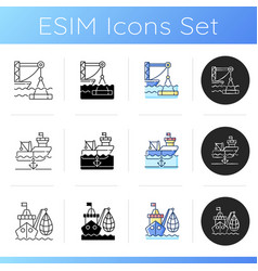 marine industry sector icons set vector image