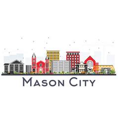 Mason city iowa skyline with color buildings vector