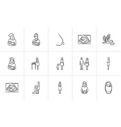 maternity hand drawn sketch icon set vector image