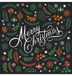 Merry Christmas Lettering on a dark background vector image