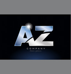 Metal blue alphabet letter az a z logo company vector