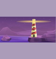 Mountain lighthouse concept banner cartoon style vector