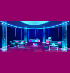 Night club or bar interior design with furniture vector
