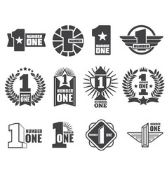 Number one logos set vector