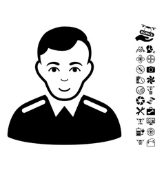 Officer icon with air drone tools bonus vector