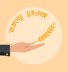 Open palm with wheat vector