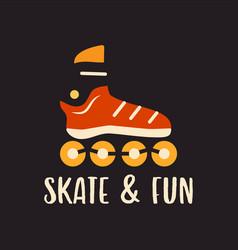 Outline logo emblem with roller skate on black vector