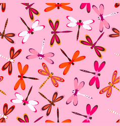 Pattern with multiolored dragonflies vector