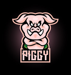 pink pig e sport logo design vector image