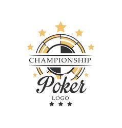 Poker championship logo vintage emblem vector