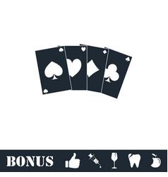 Poker icon flat vector