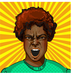 Pop art screaming aggressive african vector