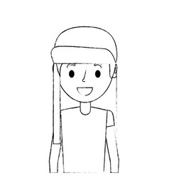 portrait girl young cartoon female kid vector image