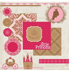 Princess Girl Birthday Set vector image